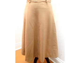 Vintage 1960s Long Wool Tan/Khaki Evan Picone Skirt - S