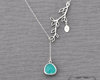 Aqua blue bridesmaids gift, wedding gift, aqua blue initial lariat branch necklace, Wedding jewelry, sterling silver, initial necklace, leaf