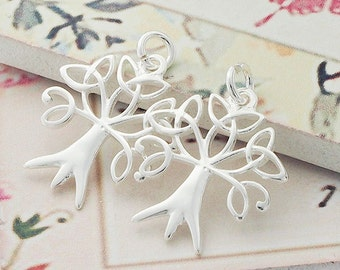 2 of 925 Sterling Silver Tree of Life Pendants 17x19 mm. Polish Finished. :th2183