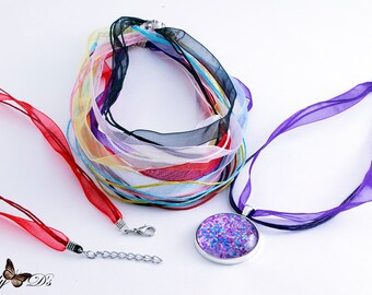 16 Pack of Organza Ribbon Necklaces. Mix-N-Match 8 colors. Ribbon Cords with Extension Chains. Ribbon Pendant Necklaces
