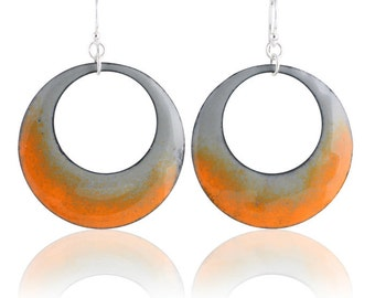 Orange Mod Circle Enamel Earrings