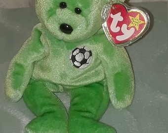 "Ty Beanie Babies"" Kicks"" Bear—Rare with Tag Errors"