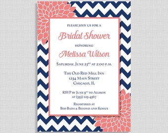 Navy and Coral Mums Bridal Shower Invitation, Floral Wedding Shower Invite, 5x7 inch, Navy Chevron, DIY PRINTABLE