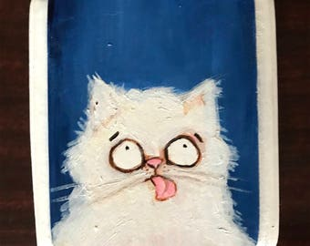 Cat Portrait on Wood #2 Original Painting