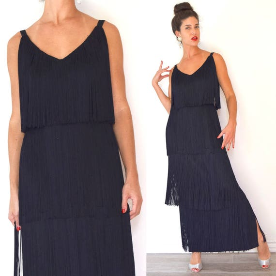 Vintage 60s does 20s Tiered Black Fringe Evening Gown (size small, medium)