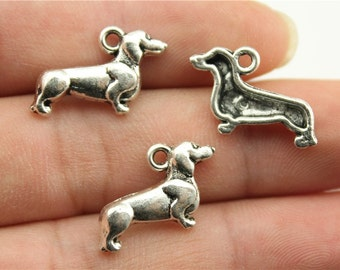 10 Dachshund Dog Charms, Antique Silver Tone (1E-65)