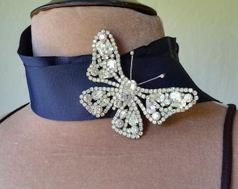 KENNETH JAY LANE Butterfly Brooch Clear Rhinestones Vintage Jewelry