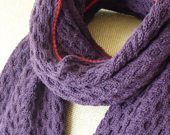 Hand knitted scarf cotton purple lace pattern crochet edge Red