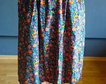 Vintage floral Midi skirt / Size EU40 / M L / Accordion Skirt / Hippie / High waisted Skirt / retro /