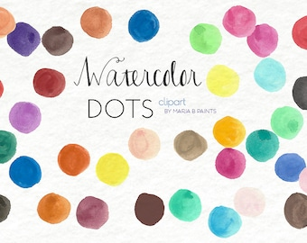 Watercolor Clip Art - Dots, Polka-dots, paint, background, decorate, spots, personal use, instant download, blobs, cute, baby, invitation