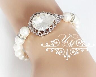 Wedding Jewelry Rhinestone teardrop Bracelet Bridal Bracelet Bridal Jewelry Bridesmaids Bracelet Bridesmaids Jewelry Teardrop Jewelry - TECA