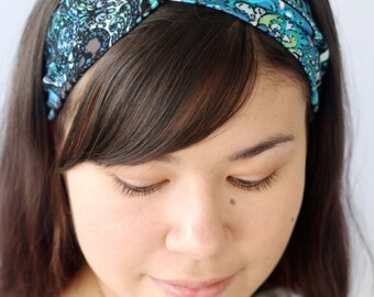 Stretchy Turban Headband, Boho Headwrap, Blue Paisley Twist Headband, Yoga Workout