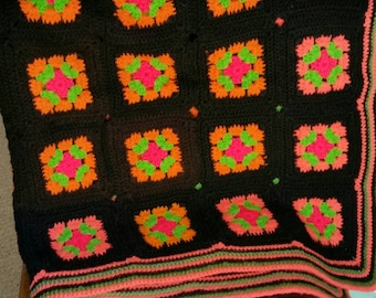 Colorful Afghan Throw, Vintage Granny Squares Handmade Colorful Bedding 57 x 45