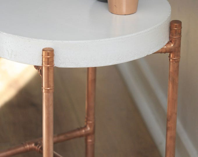 Industrial Concrete and Copper Pipe Coffee Table | Contemporary | Concrete Table | Urban | Rustic