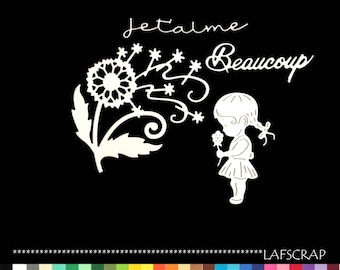 Scrapbooking character cutouts child baby newborn girl flower word I love you embellishment Scrapbook scrap