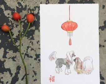Chinese New Year Dogs Original Illustration