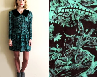 vintage dress 80s mini velvet collar landscape print emerald green 1980s womens clothing size xs extra small