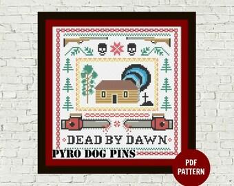 Horror Cross Stitch Pattern PDF - Dead by Dawn Modern Cross Stitch Sampler - Instant Download