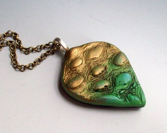 Pendant Necklace Polymer Clay Leaf Green and Gold, Organic Textures