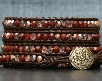 wrap bracelet- copper and brick red crystal on dark brown leather - boho gypsy bohemian jewelry - beaded - burnt orange