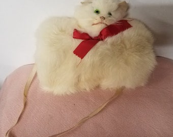 Vintage 1950's Fur Muff Kitten Muffs with Neck Strap
