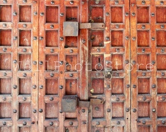 Door Photography, Old brown wooden carved Door, Zanzibar Print, Tanzania, Architecture Photography, Fine Art Photography, Wall Print Art