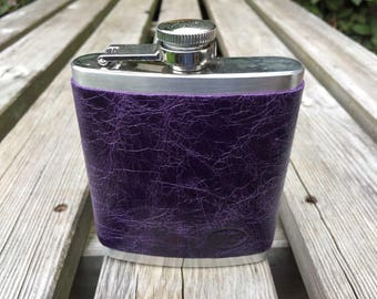 Upcycled leather bound hip flask