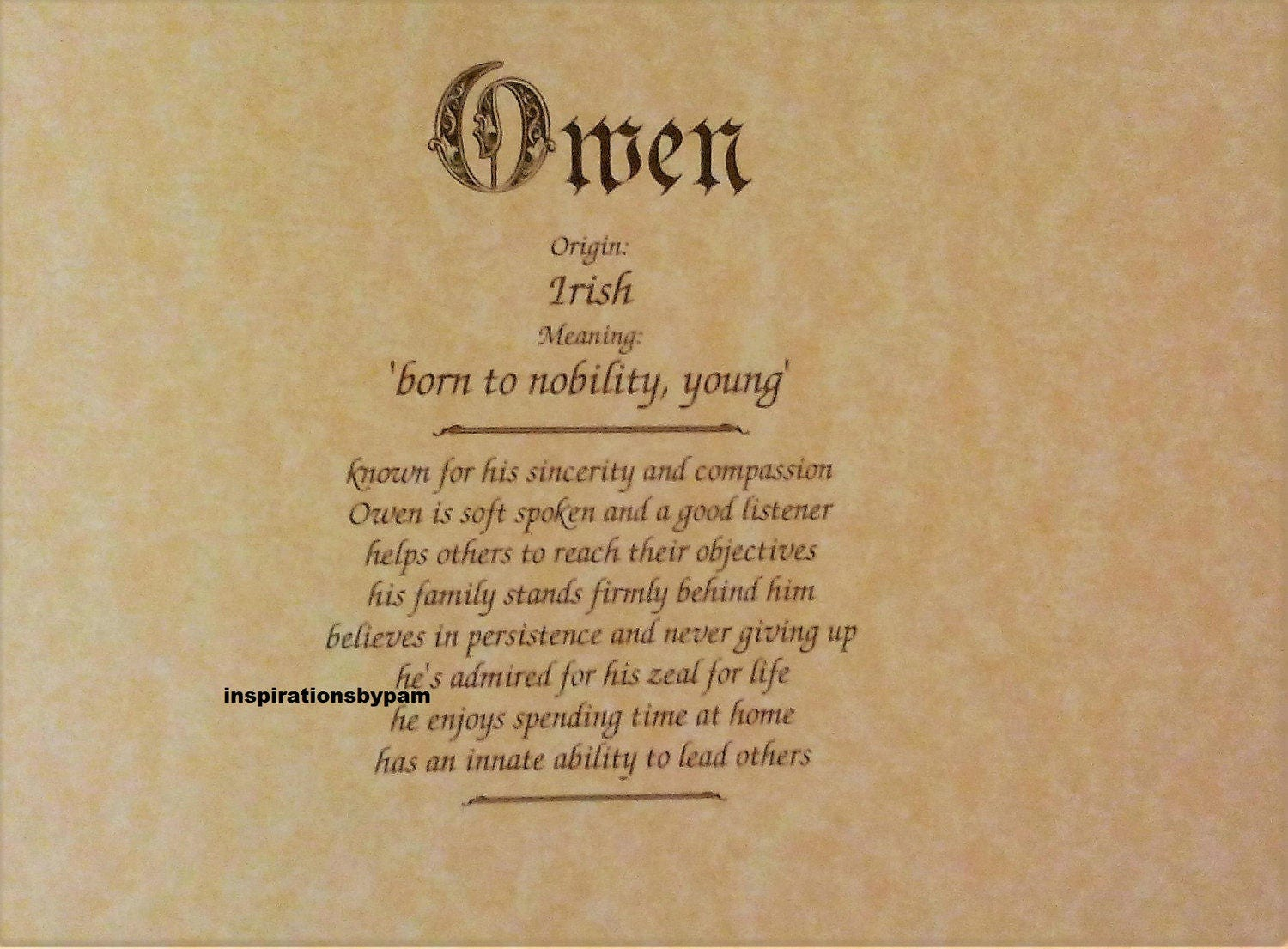Owen First Name Meaning Art Print-Name Meaning-Parchment