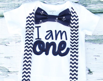 Baby boy nautical navy chevron first birthday onesie Navy chevron I am ONE boy one year outfit zig zag suspender bow tie anchor boy birthday