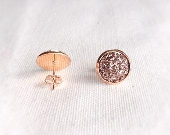 Custom 10mm rose Gold Druzy Earrings royal blue Druzy Earrings Rose Gold Earrings Bridal Druzy, Bridesmaid Earrings, Faux Druzy Earrings