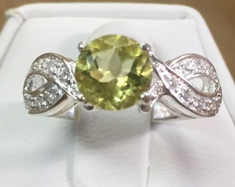 Lemon Topaz Sterling and CZ Ring Size 6