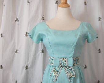 Vintage Light Turquoise Long Formal Dress, Linen, Handmade, 1960s, Empire Waist, Embroidery Trim, Bow, Blue Green Yellow Floral, Size XS