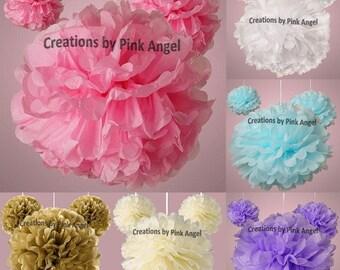 Set of 3 Pink Pom Poms, Blue Tissue Pom Poms, Purple Tissue Pom Poms, Ivory Wedding Pom Poms Decor