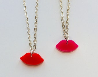 Sale | Lips | Kiss | Make Up | Sassy | Cute | Laser Cut | Acrylic | Necklace