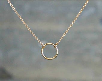Gold Circle Necklace // Small Classic Infinity Pendant on Gold Filled Chain / Floating Ring Necklace • Simple Modern Minimal / Gift for Her