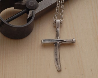Modern Sterling Silver Cross Necklace for Men or Women, Men's Cross Pendant, Religious Jewelry ST700