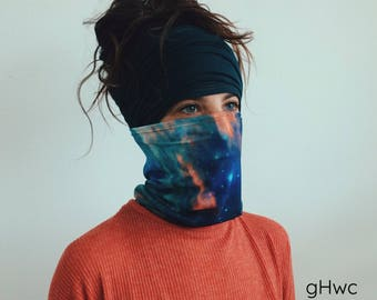 Galaxy Headband, Galaxy Mask | Dreadband, Hair Tube, Dread Sock, Loc Wrap, Wide Head Band | Long band, Dreadlock, Updo, Hair | Eco Friendly