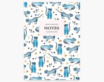 Notebook chat, A6, cahier, carnet, carnet de note, petit cahier, carnet ligné, carnet bleu, cadeau d'anniversaire, papeterie chat