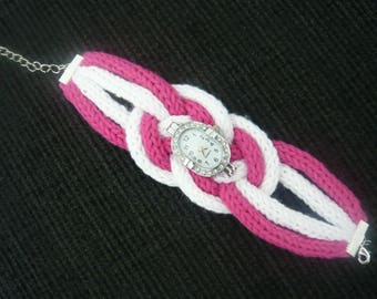 Watch bracelet pink and white rhinestones