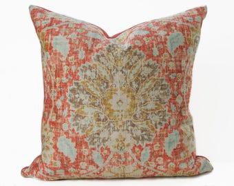 Persian style orange velvet pillow cover - Orange and Gold velvet pillow - Shabby Chic pillow - Boho velvet pillow - Dark Orange Pillow