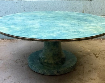 Tropical Ocean Painted Vintage Coffee Table with Brass Trim