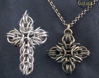 Greek / Iron / Catholic Cross - Pendant - Stainless Steel
