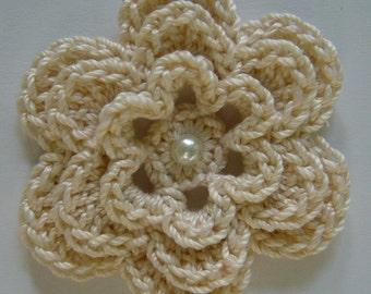 Crocheted Flower - Ecru with Pearl - Cotton Flower - Crocheted Flower Applique - Crocheted Flower Embellishment