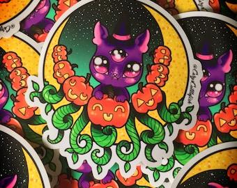Crescent Moon Kitty Sticker // halloween creepy cute witch spooky stickers jackolantern pastel goth