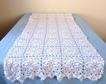 WEDDING Very Long French Table Runner - French Wedding - French Vintage Table Runner - Crochet Table Runner -  french Linen