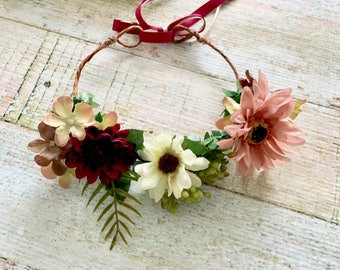 Baby Flower Crown - Enchanted Fairy, White, Burgandy, Dusty Rose Crown, Wedding Flower Crown, Flower Halo, Bridal Flower Crown