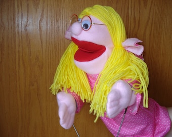 Girl hand puppet movable mouth and arms 18 inches tall and 18 inches wide