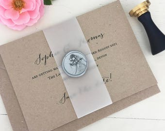 Wax Seal, Save The Dates, Save The Date Cards, Vellum Save the Date, Vellum Wrap, Wedding Date Save