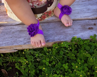 Purple Baby Barefoot Sandals - Baby Sandals - Purple Baby Shoes - Infant Shoes - Newborn Sandals - Baby Shoe Covers - Baby Shower Gift