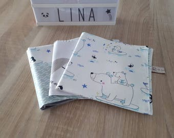 In stock. Set of 3 fabric napkins bears and penguins customizable name, Zero waste.